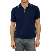 WoolOversMens Cashmere and Cotton Tipped Knitted Polo Shirt XS Classic Navy