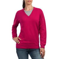WoolOversWomens Cashmere and Cotton V Neck Jumper XS Cherry