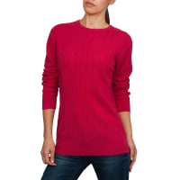 WoolOversWomens Cashmere and Merino Cable Crew Neck Jumper XL Rich Rose