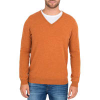 WoolOversMens Cashmere and Merino V Neck Jumper XL Orange Spice