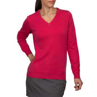 WoolOversWomens Cashmere and Merino V Neck Jumper XL Rich Rose