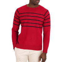 WoolOversMens Lambswool Breton Stripe Crew Neck Jumper XL Red / Charcoal