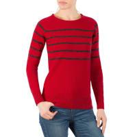 WoolOversWomens Lambswool Breton Stripe Crew Neck Jumper XL Red / Charcoal