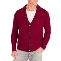 WoolOversMens Lambswool Chunky Knitted Blazer XL Burgundy Wine