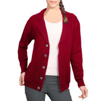 WoolOversWomens Lambswool Chunky Knitted Blazer XL Burgundy Wine