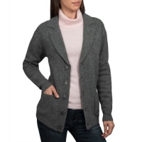WoolOversWomens Lambswool Chunky Knitted Blazer XL Mid Grey Marl