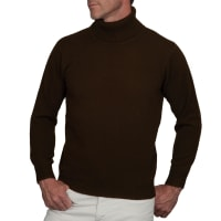 WoolOversMens Lambswool Polo Neck Jumper XL Chocolate