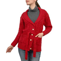 WoolOversWomens Pure Wool Aran Cable Belted Cardigan XL Red