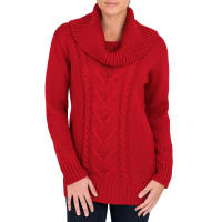 WoolOversLadies Pure Wool Aran Cable Cowl Neck Jumper XL Red