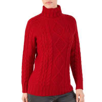 WoolOversWomens Pure Wool Aran Cable Roll Neck Jumper XL Red