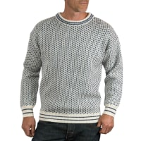 WoolOversMens Pure Wool Chunky Fairisle Crew Neck Jumper M Cream/French Navy