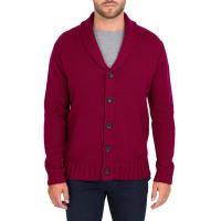 WoolOversMens Pure Wool Chunky Shawl Collar Cardigan XL Burgundy