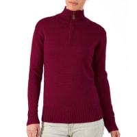 WoolOversWomens Pure Wool Chunky Zip Neck Jumper XXL Burgundy