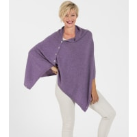 WoolOversWomens Cashmere and Merino Button Poncho 1size Lavender Marl