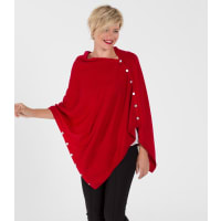 WoolOversWomens Cashmere and Merino Button Poncho 1size Red