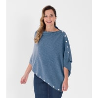 WoolOversWomens Cashmere and Merino Cable Buttoned Poncho and Shrug 1size Bl