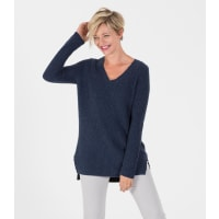 WoolOversWomens Cashmere and Merino Chunky V Neck Jumper XL Denim Marl