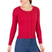 WoolOversWomens Cashmere and Merino Cropped Crew Neck Cardigan XXL Rich Rose