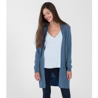 WoolOversWomens Cashmere and Merino Edge to Edge Long Cardigan XL Bluebell