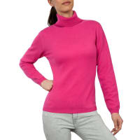 WoolOversWomens Cashmere and Merino Fitted Polo Neck Jumper XXL Cerise