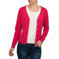 WoolOversWomens Cashmere and Merino Luxurious V Neck Cardigan XXL Rich Rose