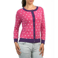 WoolOversWomens Cashmere and Merino Polka Dot Cardigan XL Cerise