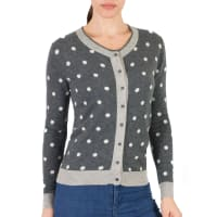 WoolOversWomens Cashmere and Merino Polka Dot Cardigan XL Charl/Flannel/Cream