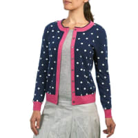 WoolOversWomens Cashmere and Merino Polka Dot Cardigan XL Navy