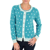 WoolOversWomens Cashmere and Merino Polka Dot Cardigan XL Soft Turq/Cool Mint