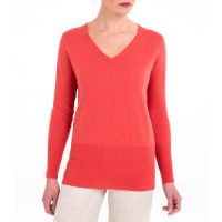 WoolOversWomens Cashmere and Merino Relaxed V Neck Jumper XL Warm Coral