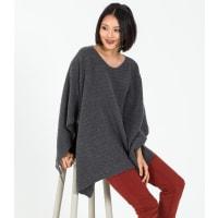 WoolOversWomens Cashmere and Merino Ribbed Poncho 1size Dark Grey Marl