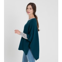 WoolOversWomens Cashmere and Merino Ribbed Poncho 1size Dark Teal