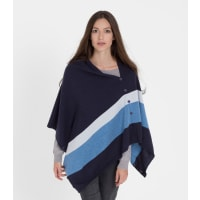 WoolOversWomens Cashmere and Merino Stripe Button Poncho and Shrug 1size Navy