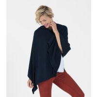 WoolOversWomens Pure Cashmere Poncho 1size Navy
