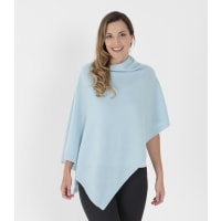 WoolOversWomens Pure Cashmere Poncho 1size Soft Blue