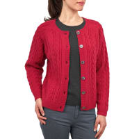 WoolOversWomens Lambswool Cable Crew Neck Cardigan L Rich Rose