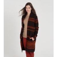 WoolOversWomens Lambswool Fairisle Coatigan XL Chocolate/Buzz
