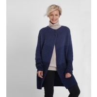 WoolOversWomens Lambswool Ombre Wrap Cardi L Navy