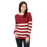 WoolOversWomens Linen Blend Boat Neck Stripe Jumper XL Cranberry Red/Cream