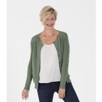 WoolOversWomens 100% Merino Crew Neck Cardigan XL Sage
