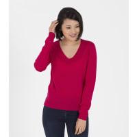 WoolOversWomens 100% Merino V Neck Rib Detail XL Magenta