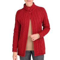 WoolOversWomens Pure Wool Aran Funnel Neck Cardigan XL Red