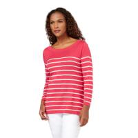 WoolOversWomens Silk and Cotton Breton Stripe Boat Neck Jumper S Rich Rose/P