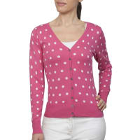 WoolOversWomens Silk and Cotton Polka Dot V Neck Cardigan XL Cerise