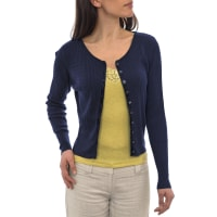 WoolOversWomens Silk and Cotton Satin Trimmed Cable Cardigan XL Navy