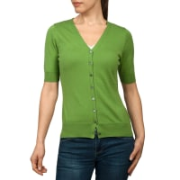 WoolOversWomens Silk and Cotton Short Sleeved Cardigan M Pea Green