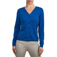 WoolOversWomens Silk and Cotton Soft Feel V Neck Cardigan XS Cobalt