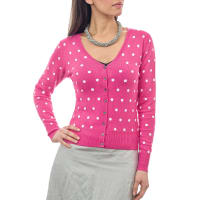 WoolOversWomens Silk and Cotton Spot V Neck Cardigan XXL Cerise