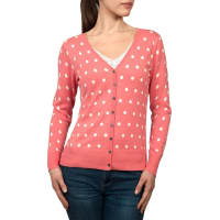 WoolOversWomens Silk and Cotton Spot V Neck Cardigan XXL Coral