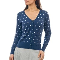 WoolOversWomens Silk and Cotton Spot V Neck Cardigan XXL French Navy